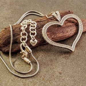 Brighton Swarovski Crystal Open Heart Necklace